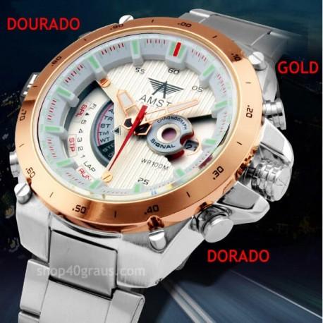 Relógio Amst 3008 de aço inoxidável à prova d'água 30 Metros