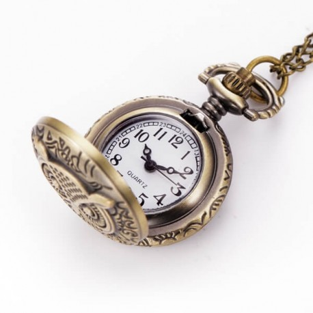 Relógio de Bolso Modelo Coruja Analógico de Quartzo