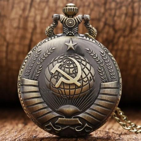 Relógio de bolso retro de quartzo modelo soviet