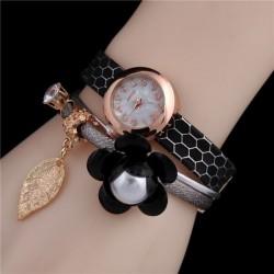 Relógio de pulso flor pingente de folha dourado