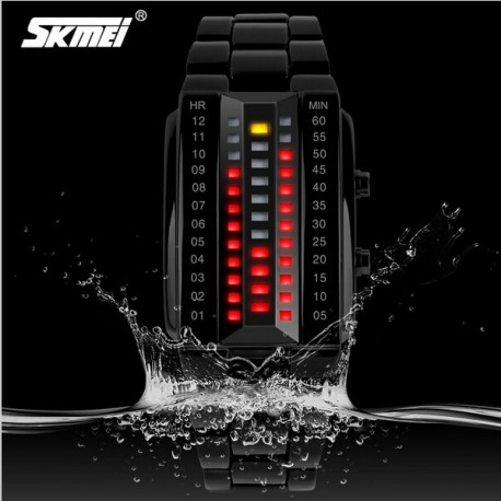 Relógio SKMEI 1013 digital pulseira de aço inoxidável de quartzo impermeável