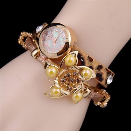 Relógio de Pulso Leopardo com flor de Cristal