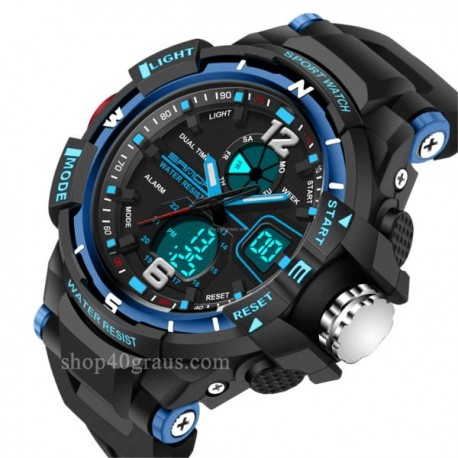 Relógio Sanda 289 Sport LED duplo Display 30M impermeável