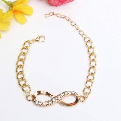 Gold female infinity crystal bracelet