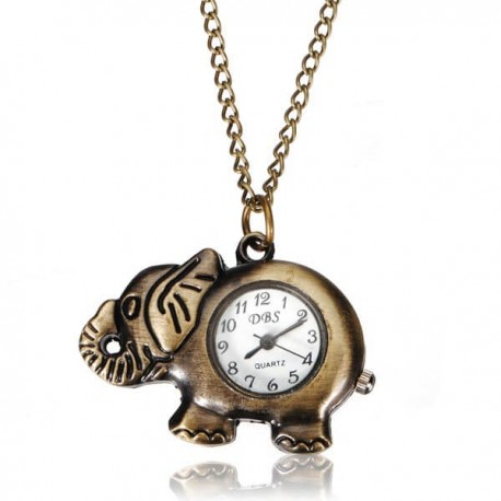 Analog Quartz Elephant Pocket Watch