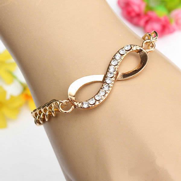 Pulseira cristal infinity feminina dourado